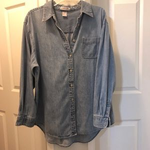 CHEROKEE Chambray long sleeve button down shirt